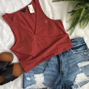 Aeropostale burnt orange v-neck crop top